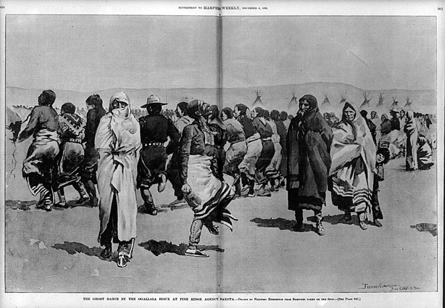 The Ghost Dance by the Oglala Lakota at Pine Ridge. Illustration by Frederic Remington, 1890. [Source: Library of Congress/Wikipedia]