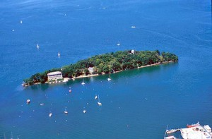 Aerial view of Gibraltar Island, site of the Stone Laboratory, Put-in-Bay, Lake Erie. [Source: marietta.edu]